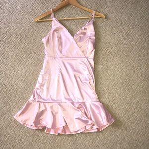 F21 satin baby pink dress